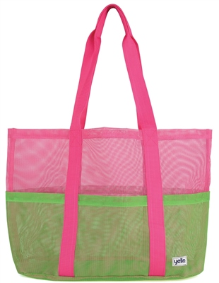 Yello Green Mesh Beach Bag   - Click to view a larger image