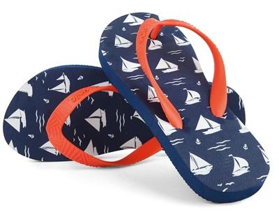 Yello Boys Sailboats Flip Flops  - Click to view a larger image