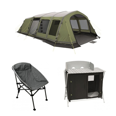 Outwell Corvette 7AC Tent Plus 4 Free Hawaii Chairs + a Outwell Sudbury Kitchen  - Click to view a larger image