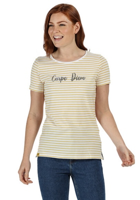 Regatta Olwyn Womens Striped T-Shirt Yellow Sulphur 2020 1