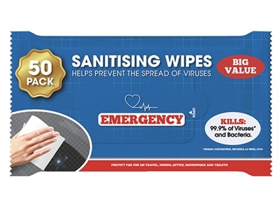 Emergency 50 Pack Sanitizing Wipe  - Click to view a larger image