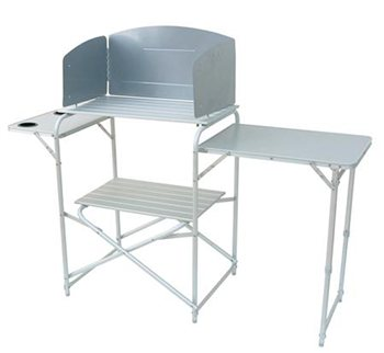 Royal aluminum camping kitchen stand with windshield for Kitchen set aluminium royal