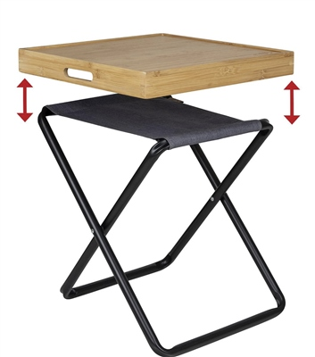 Bo-Camp Bamboo Table Top Tray  Can be turned into a side table stool not included - Click to view a larger image