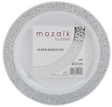 PMS 4 Pack Silver Plates 23cm  - Click to view a larger image