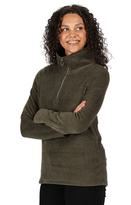 Regatta Womens Solenne Half Zip Fleece Dark Khaki  - Click to view a larger image