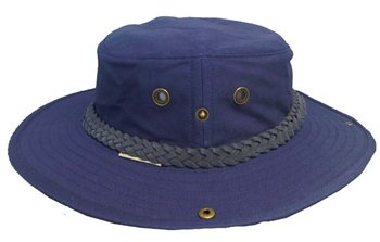White Rock - Classic Outback Hat with Suede Band NAVY BLUE